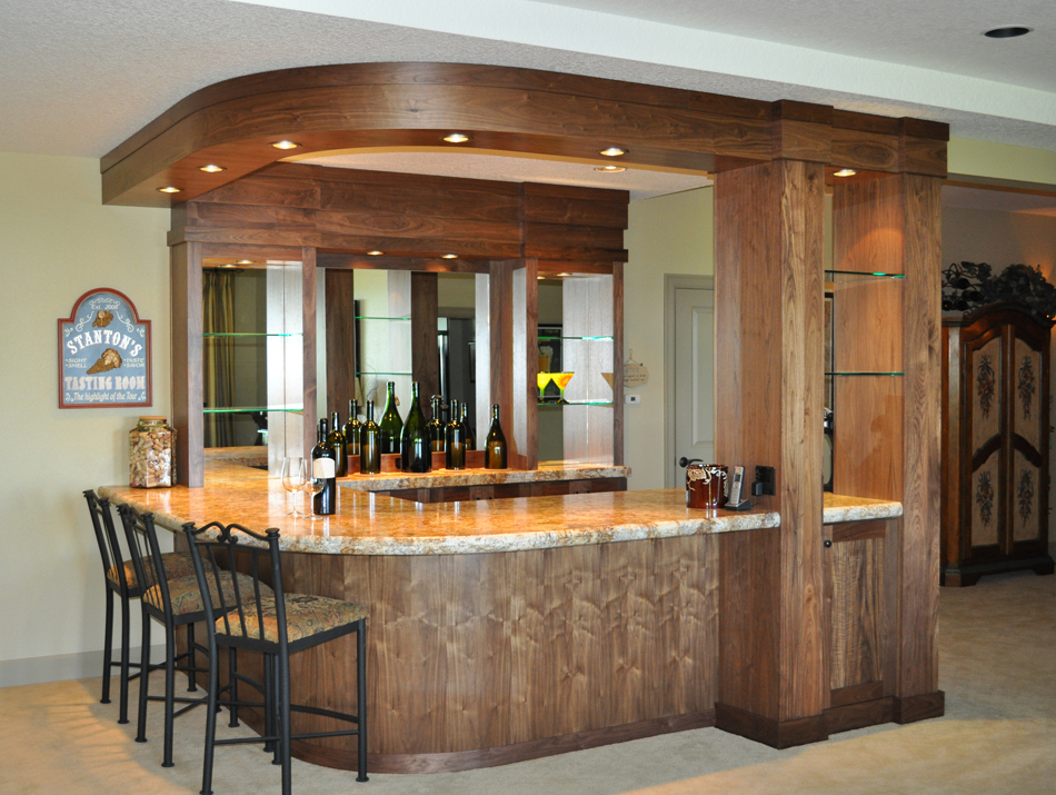Product details walnut wine bar with radius soffit and for Build a home bar from kitchen cabinets