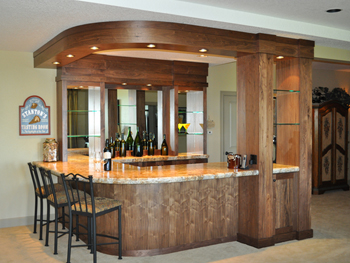 Walnut Wine Bar with Radius Soffit and Bar Back
