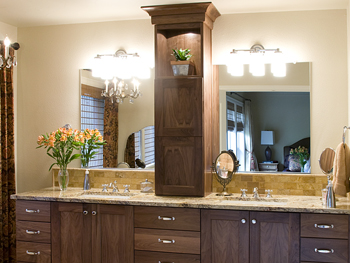 Walnut Master Bathroom Vanity with Tower on Counte