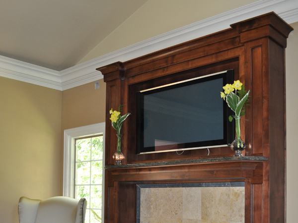 Product details master bedroom mantel aura cabinetry for Bedroom entertainment center